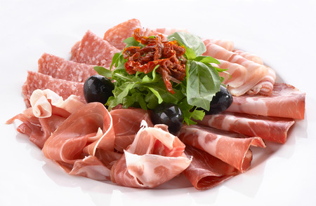 meat snack with prosciutto, salami and bacon