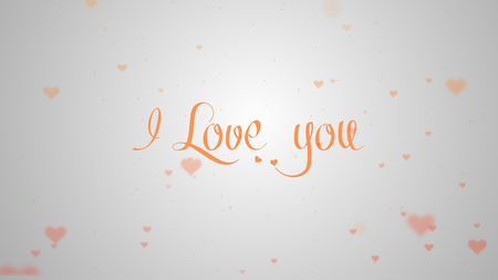 Photo pour I love you Love confession. Orange lettering is isolated on white background, which is bedecked with little cute pink hearts. Share love. - image libre de droit