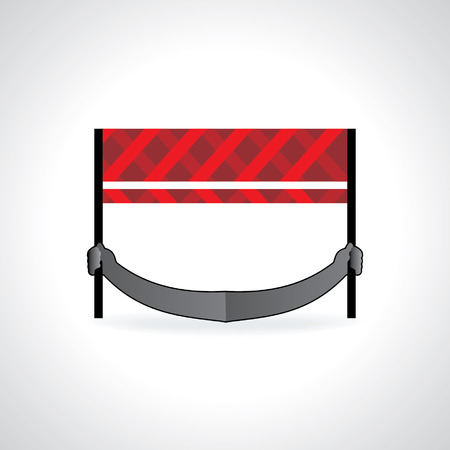 traffic barrier holding by hand vector