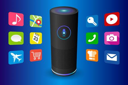 Illustration pour Voice control user interface smart speaker black color vector illustration. - image libre de droit
