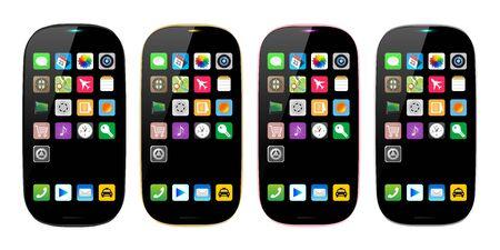 Illustration pour 4 colors smartphones, mobile phone isolated, empty display, vector illustration image. - image libre de droit