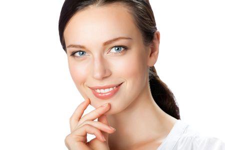 Photo pour Portrait of smiling businesswoman, isolated on white - image libre de droit