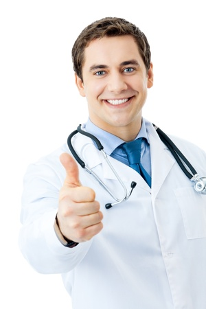 Happy smiling doctor with thumbs up gesture, isolated on white background