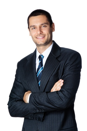 Portrait of happy smiling young businessman, isolated on white backgroundの写真素材