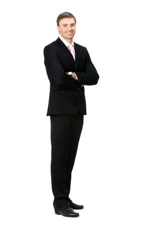 Full body portrait of happy smiling business man, isolated on white backgroundの写真素材