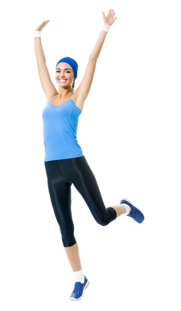 Photo for Full body of young happy smiling woman doing fitness exercise, isolated on white background  - Royalty Free Image