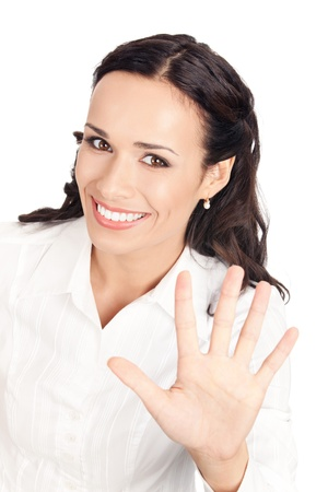 Happy smiling young business woman showing five fingers, isolated on white background
