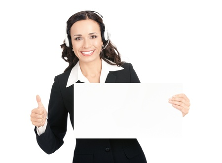 Photo pour Happy smiling young customer support phone operator in headset showing blank signboard with thumbs up, isolated on white background - image libre de droit