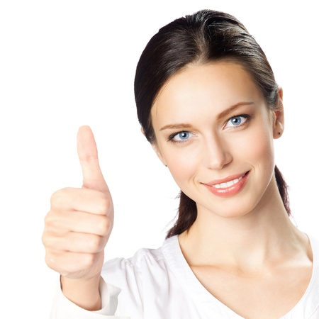 Happy smiling young beautiful business woman showing thumbs up gesture, isolated over white background