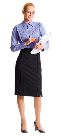 Full body portrait of young happy smiling business woman with documents, isolated over white background
