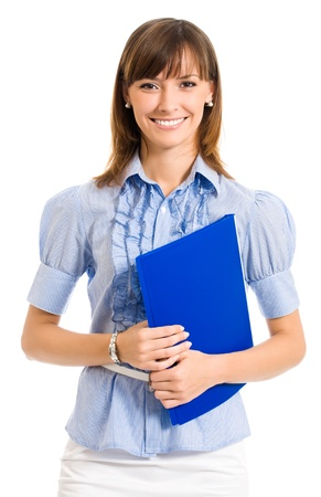 Cheerful smiling young business woman with blue folder, isolated over white background