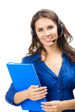 Portrait of happy smiling cheerful beautiful young support phone operator in headset with blue folder, isolated over white background