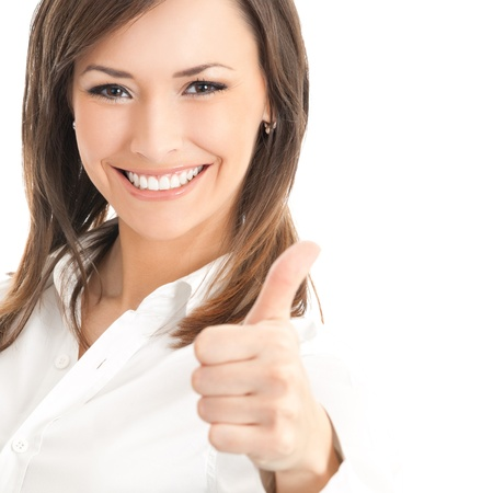 Happy smiling businesswoman with thumbs up gesture, isolated on white background