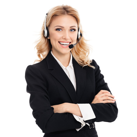 Photo pour Portrait of happy smiling young support phone operator or businesswomen in headset, isolated against white background - image libre de droit