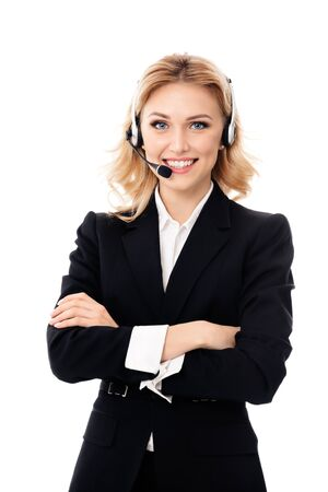 Photo pour Call center. Smiling support service phone female operator in headset, isolated against white background. Caucasian blond model in customer help consulting concept. - image libre de droit