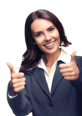Photo for Portrait of happy smiling beautiful businesswoman showing thumbs up gesture, in grey confident suit, isolated over white background - Royalty Free Image