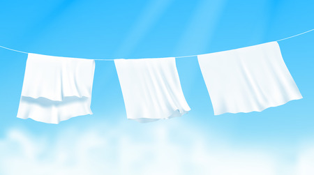 Illustration for White sheets dried on a rope on the wind. Realistic vector illustration with blue sky and sunshine on background - Royalty Free Image