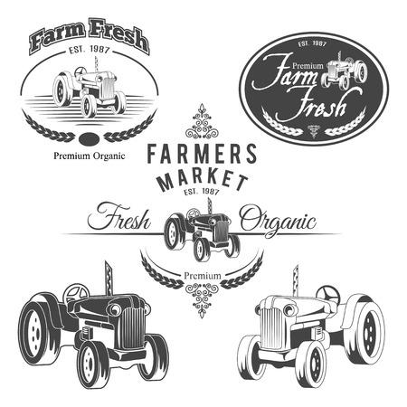 Set of retro farm fresh labels, badges and design elements