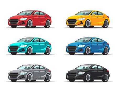 Illustration pour Set of cars. Collection sedan vehicles in a variety of colors. Vector illustration isolated on white background. - image libre de droit