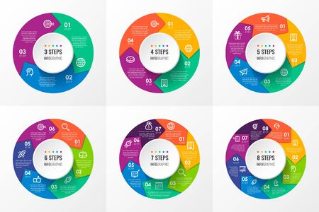 Illustration for Vector Infographic circular arrows with icons and 3, 4, 5, 6, 7, 8 options or steps. Business concept. Can be used for presentations banner, workflow layout, process diagram, flow chart, info graph - Royalty Free Image