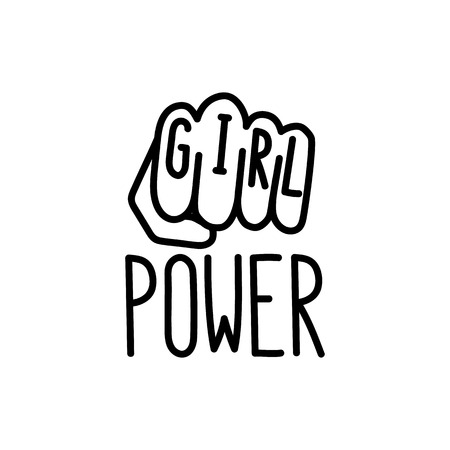 Illustration pour The quote girl power with image female clenched fist. - image libre de droit