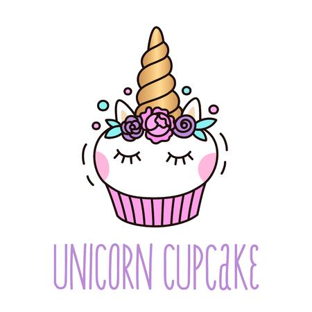 Vektor für Cute unicorn cupcake on a white background.  It can be used for card, sticker, patch, phone case, poster, t-shirt, mug etc. - Lizenzfreies Bild