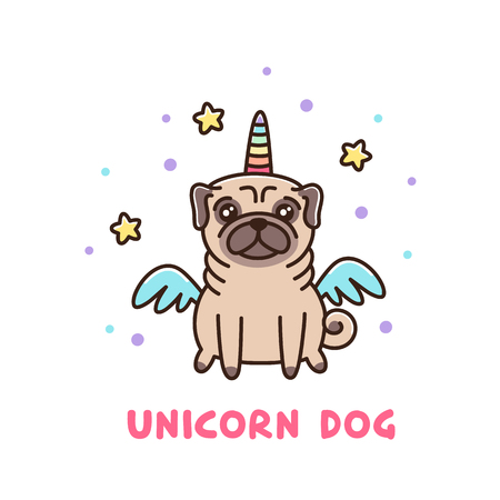 Ilustración de Cute dog of pug breed in a unicorn costume. It can be used for sticker, patch, phone case, poster, t-shirt, mug and other design. - Imagen libre de derechos