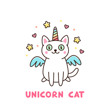 Ilustración de Cute white cat in a unicorn costume with wings and rainbow horn. It can be used for sticker, patch, phone case, poster, t-shirt, mug and other design. - Imagen libre de derechos