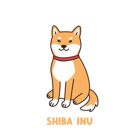 Милая кавайная собака породы сиба-ину с красным ошейником или банданой. Его можно использовать для наклейки, патча, чехла для телефона, плаката, футболки, кружки и другого дизайна.
