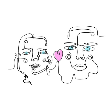 Illustration for Woman and man with heart, drawn by one continuous line art. It can be used for sticker, patch, phone case, poster, t-shirt, mug etc. - Royalty Free Image