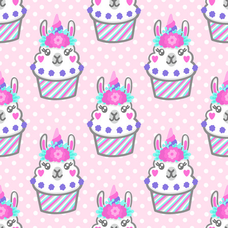 Illustration for Seamless pattern with llama cupcake with floral wreath and horn like unicorn. Excellent design for packaging, wrapping paper, textile, clothes and etc. - Royalty Free Image