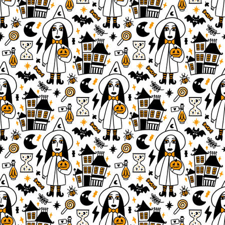 Illustration pour Seamless pattern with spooky Witch, magic old Castle and with Holiday attributes - image libre de droit