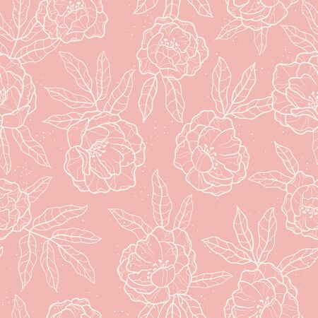 Illustration for Elegant hand drawn peonies seamless pattern, lovely floral background, great for textiles, banners, wallpapers, wrapping - vector design - Royalty Free Image