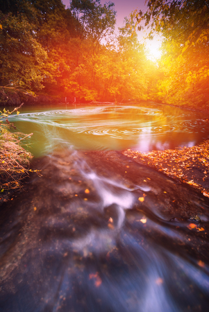 Light of morning sun shining through the trees in a autumn forest. Majestic sunrise on a river. Ukraine, Europe