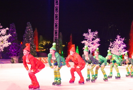 Orlando, Florida. November 17, 2018. Elf skaters forming a line during Christmas Show on Ice in International Drive area.
