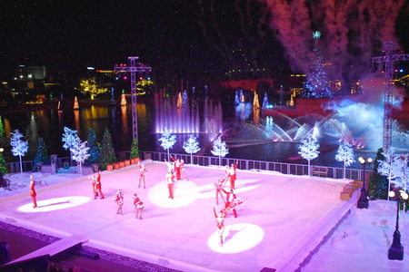 Orlando, Florida. November 17, 2018. End of Christmas Show on ice on colorful background in International Drive area.