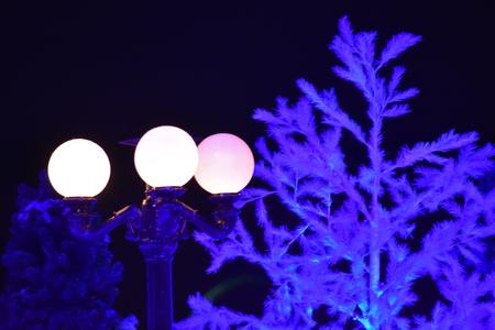 Orlando, Florida. November 17, 2018. Streetlight and illuminated holiday tree in International Drive area