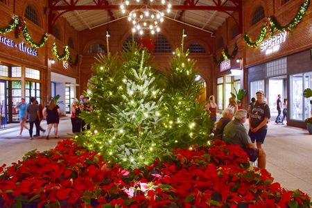 Orlando, Florida. November 24, 2018 Christmas Tree and red holidays at Lake Buena Vista.