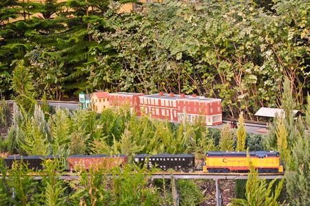 Orlando, Florida. November 19, 2018. Pennsylvania miniature train and small villa in International Drive area.