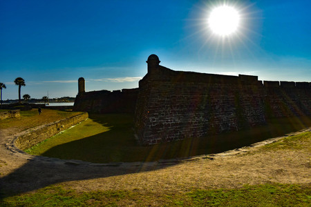 St. Augustine, Florida. January 26, 2019. San Marcos Castle on beautiful sunrise background in Floridas Historic Coast (2)