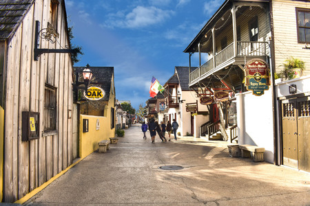 St. Augustine, Florida. January 26, 2019. Colorful St. George Street at Old Town in Floridas Historic Coast (5)