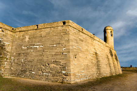 St. Augustine, Florida. January 26, 2019. Panoramic view of San Marcos Castle on lightblue background in Floridas Historic Coast (2)