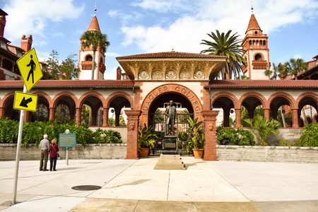 St. Augustine, Florida. January 26, 2019. Panoramic view of Henry Flager College in Floridas Historic Coast.