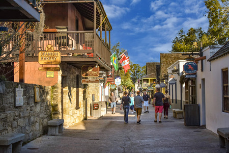 St. Augustine, Florida. January 26, 2019. People enjoying colonial experience in St. George St. in Old Town at Floridas Historic Coast (3)