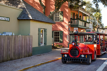 St. Augustine, Florida. January 26, 2019. Red Train Tour at Old Town in Floridas Historic Coast