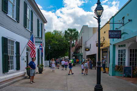 St. Augustine, Florida. March 31, 2019. People walking in St. George street at Florida's Historic Coast (4)