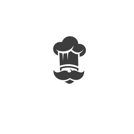 Illustration for Black chef with mustache and hat vector illustration - Royalty Free Image