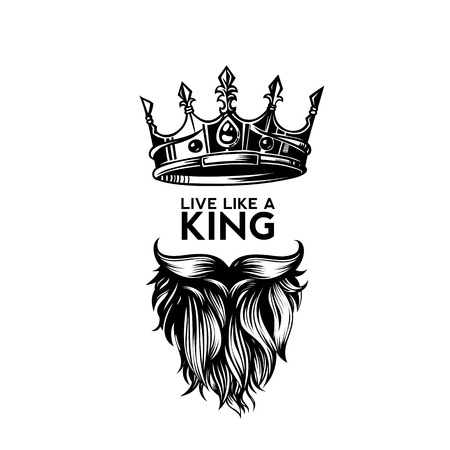 Illustration for King crown, moustache and beard on white background logo with typography vector illustration design. - Royalty Free Image