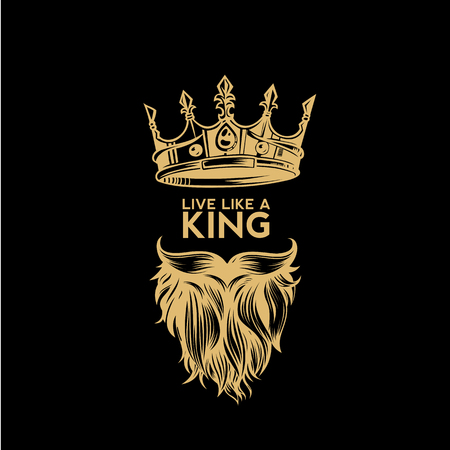 Illustration for A golden logo of crown,mustache and beard vector illustration - Royalty Free Image