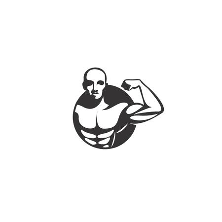 minimal logo of black body builder on white background vector illustration design.